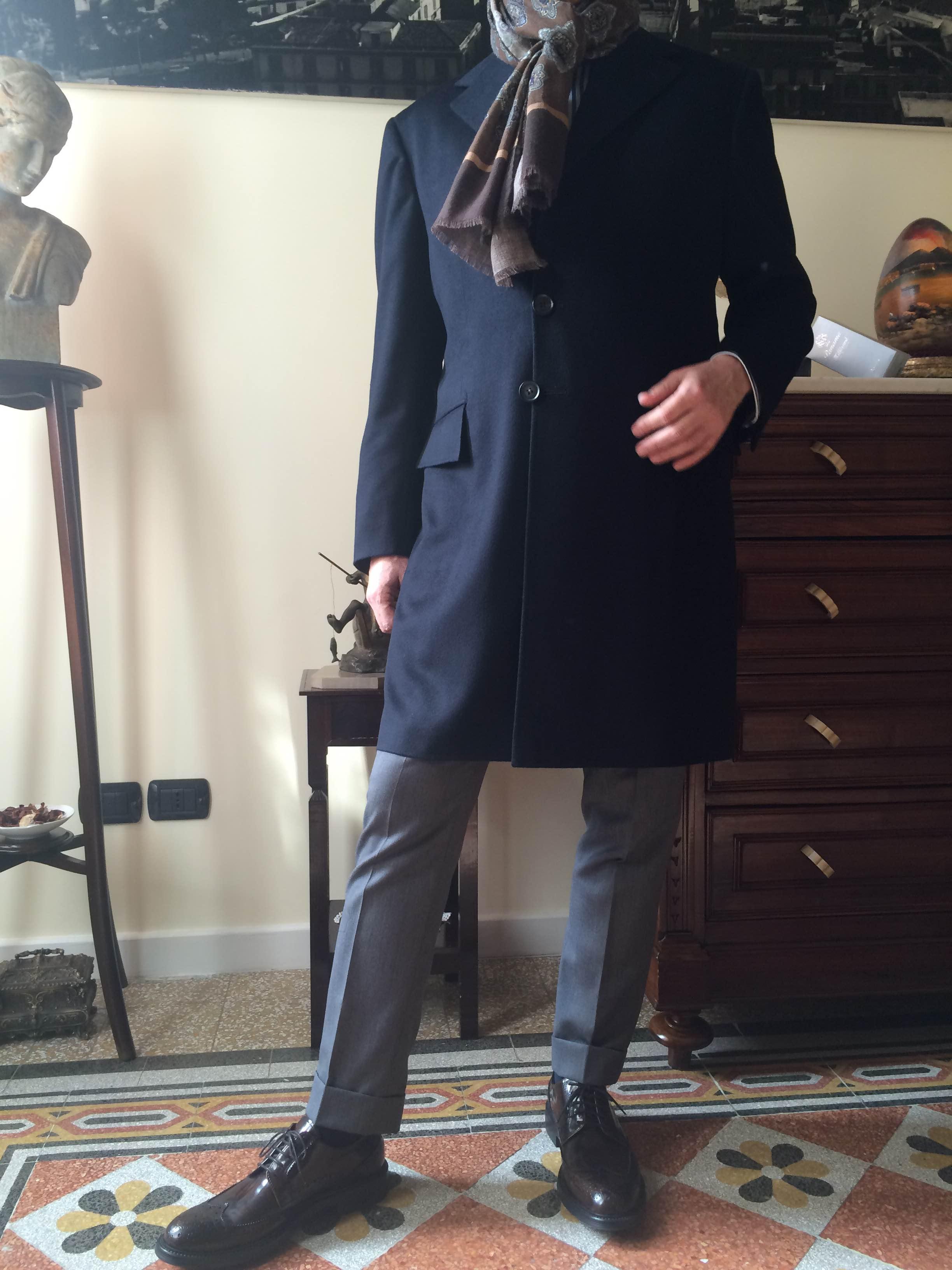 Cappotto monopetto cachemire blu artoria napoletana Sartoria Napoletana, artigiano, sarto, sartoria antonelli, sartoria artigianale, artigianato napoletano, napoli